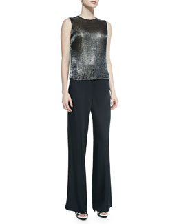 Sleeveless Jewel-Neck Sequined Top & Wide-Leg Trousers W/ Satin Back