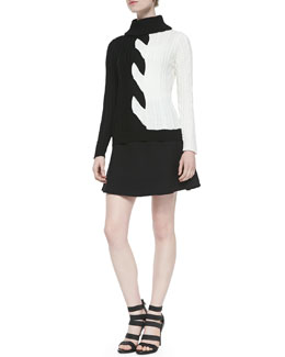 Milly Flared Zip-Back Skirt & Two-Tone Cable-Knit Sweater