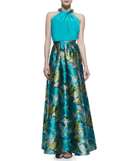 Carmen Marc Valvo Toga-Inspired Top with Beaded Neckline & Floral Printed Charmeuse Ball Skirt