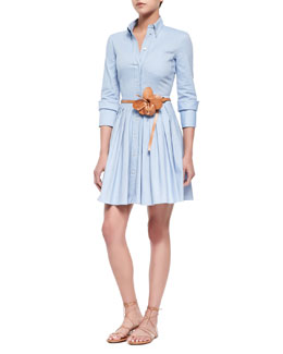 Michael Kors Oxford Double-Cuff Shirtdress & Flower-Detailed Skinny Leather Belt