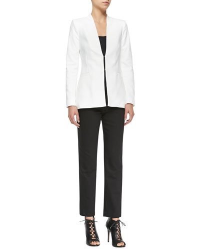 Alice + Olivia Long Collarless Blazer & Stacey Slim Cropped Trousers