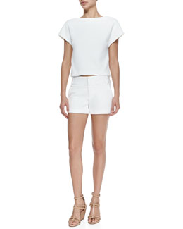 Alice + Olivia Boxy Cap-Sleeve Textured Top & Textured Cady Structured Shorts