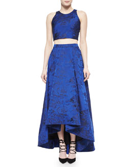 Alice + Olivia Kesten Floral Brocade Crop Top & Cohe Floral Brocade Asymmetric Skirt
