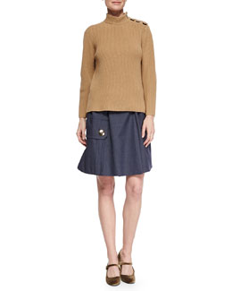 Marc Jacobs Cashmere-Blend Military Rib-Knit Sweater & Belted Pocket Flounce Skirt