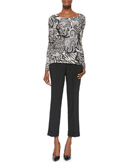 Etro Animal Paisley-Print Jersey Top & Solid Lightweight Cady High-Waist Pants