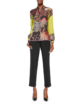 Etro Mixed-Print Silk Blouse & Solid Lightweight Cady High-Waist Pants