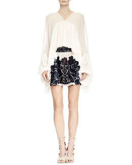 Chloe Full-Sleeve Flounce Blouse & Folkloric Patched Lace Skirt