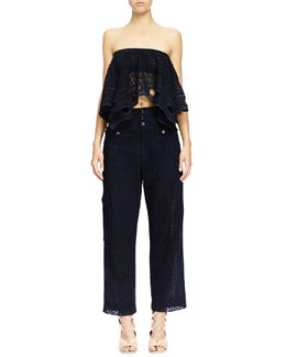 Chloe Strapless Eyelet Lace Bra Top & Eyelet Guipure Lace Wide-Leg Pants, Deep Navy