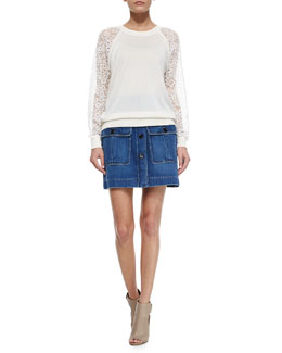 Chloe Embroidered Lace-Inset Top & Double-Pocket Denim Skirt