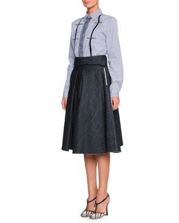 Bottega Veneta Pinstripe Grommet-Detailed Blouse & Full A-Line Denim Skirt