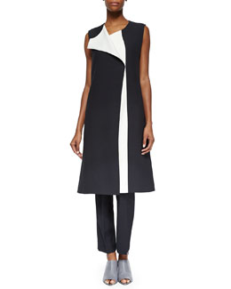 Narciso Rodriguez Bicolor Full-Length Vest, Two-Tone Harness-Back Top & Flat-Front Slim Pants