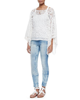 Ralph Lauren Black Label Roderick Open Soutache Poncho, Teaser Scoop-Neck Ribbed Tank & 400 Matchstick Distressed Denim Jeans