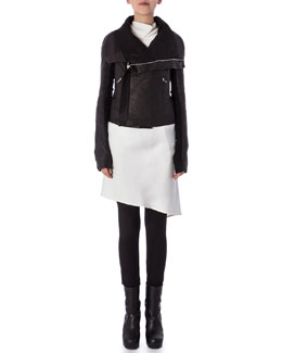Rick Owens Biker Jacket Converts to Bag, Wishbone Tank Tunic with Open Back & Aircut Moderate-Rise Leggings in Stretch Knit