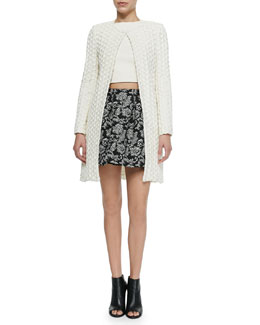 Alice + Olivia Shay Open-Front Cardigan, Alexis Leather/Lace Top & Anna Pleated Print Short Skirt
