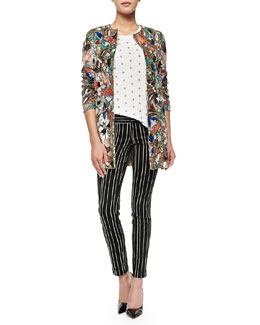 Alice + Olivia Rory Beaded Sequined Collarless Jacket, Robin Embroidered Short-Sleeve Top & Striped Low-Rise Slim Trousers