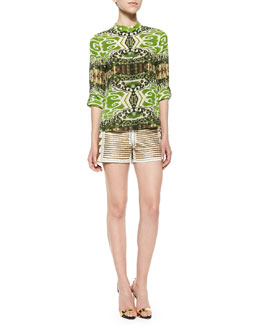 Alice + Olivia Eloise Garden-Print Silk Blouse & Beaded Back-Zip Leather Shorts