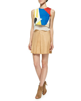 Alice + Olivia Giana Layered Cropped Tank Top & Russo Inverted-Pleat Leather Skirt