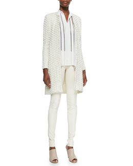 Alice + Olivia Shay Open-Front Long Cardigan, Helen Lace-Trim Chiffon Tunic & Leather Leggings with Back Zip
