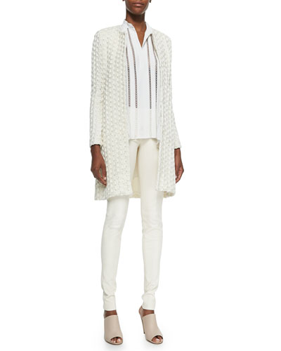 Shay Open-Front Long Cardigan, Helen Lace-Trim Chiffon Tunic & Leather Leggings with Back Zip