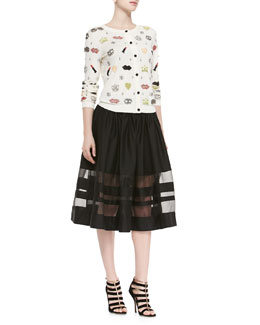 Alice + Olivia Stacey Must Have Beaded Sweater & Misty Mid-Length Sheer-Hem Skirt