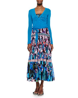Jean Paul Gaultier Long-Sleeve Tulle Wrap Top & Printed Tiered Full-Skirt Dress