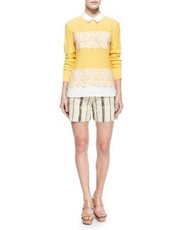 Tory Burch Edwina Embroidery Paneled Sweater & Edna Striped Flap-Pocket Shorts