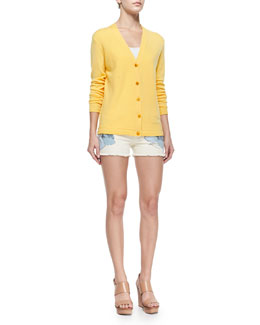 Tory Burch Madison V-Neck Button-Front Cardigan & Amanda Floral-Print Short Shorts