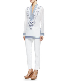 Tory Burch Tory Embroidered Tunic W/ Ribbon Trim & Callie Skinny Ankle Pants