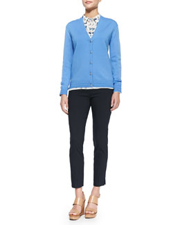 Tory Burch Madison V-Neck Button-Front Cardigan, Pamela Floral-Print Shirt & Callie Skinny Ankle Pants