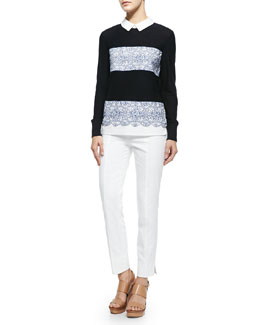 Tory Burch Edwina Embroidery Paneled Sweater & Callie Skinny Ankle Pants
