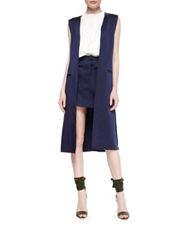 Adam Lippes Long Side-Slit Vest, Sleeveless Double-Layer Shell & Patch-Pocket A-Line Skirt