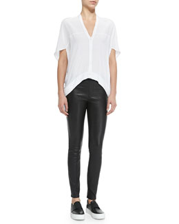Helmut Lang Axio Short-Sleeve Cropped Crepe Blouse & Pull-On Leather Leggings