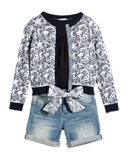 Armani Junior Floral-Print Cardigan, Tunic & Denim Shorts