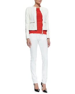 Roberto Cavalli Perforated Leather Band-Collar Jacket, Cutout-Sleeve Zigzag Knit Top & Skinny Denim Ankle Jeans