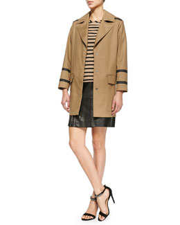 Belstaff Contrast-Seamed Bonded Trench Coat, Short-Sleeve Striped High-Low Tunic & Side-Zip Leather Skirt