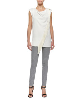 Belstaff Sleeveless Asymmetric Fringe Blouse & Zip-Pocket Skinny Jeans