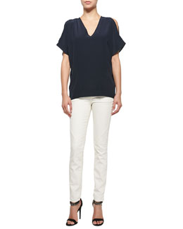 Belstaff Cold-Shoulder Cocoon Tunic & Zip-Pocket Skinny Jeans
