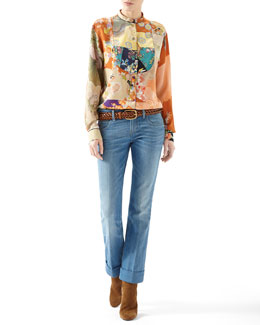 Gucci Patchwork Print Crepe De Chine Button-Down Shirt & Washed Denim Skinny Flare Pant