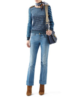 Gucci Patchwork Knit Long-Sleeve Top & Washed Denim Skinny Flare Pant