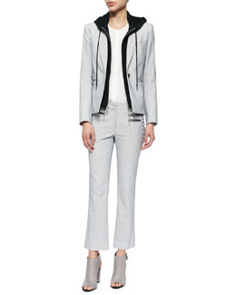 Veronica Beard Railroad Striped Jacket with Removable Hooded Dickey, Sleeveless Silk Pintuck Blouse & Railroad Stripe Cropped Pants