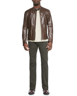 Maison Martin Margiela Leather Zip Moto Jacket, Garment-Dyed Crewneck Tee & Slim-Fit Denim Pants