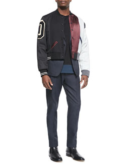 Maison Martin Margiela Multi Matchwork Varsity Jacket, Cotton-Blend Two-Button Jacket, Crewneck Colorblock Tee & Slim-Fit Woven Trousers