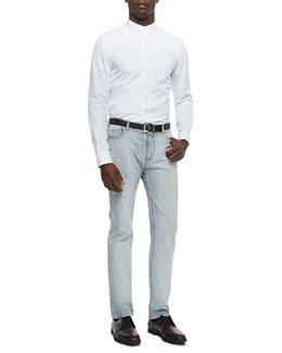Maison Martin Margiela Banded Collar Poplin Dress Shirt & Bleach Wash Denim Jeans