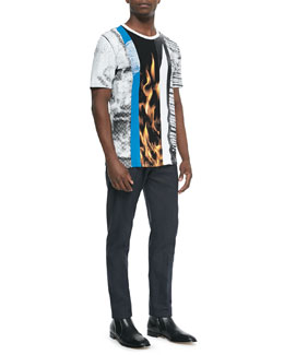 Maison Martin Margiela Multi-Print Crewneck Tee & Slim-Fit Woven Trousers