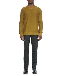 Maison Martin Margiela Crewneck Sweater with Cutout Hem & Slim Tropical-Wool Trousers