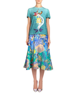 Mary Katrantzou Short-Sleeve Marlin-Print Tee & Remora Ocean Babelona Full Skirt