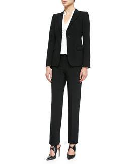 Featherweight Wool One-Button Jacket, Stretch-Poplin Shirtwaist Blouse & Trousers