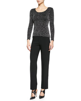 Long-Sleeve Glitter Jersey Tee & Featherweight Wool Trousers
