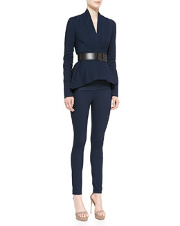 "Donna Karan Woven Peplum Jacket, Sleeveless Ruched Jersey Top, Bicolor Pull-On Ankle Pants & 2"" Leather-Front Plastic Belt"