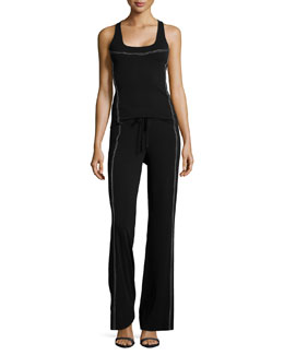 Donna Karan Contrast-Stitch Seamed Tank Top & Wide-Leg Pants